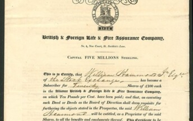 Great Britain: Alliance British & Foreign Life & Fire Assurance Company, certificate for [20] s...