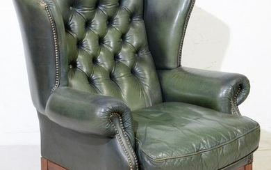 Green Leather Chesterfield Wing Chair - Straight Legs