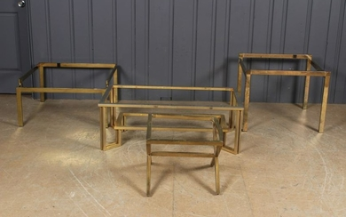 Group of 4 Brass Tone Low Tables