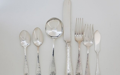 Hand Hammered Sterling Silver Flatware Service, Turn of the Century