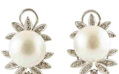 Handcrafted Clip-On Earrings Diamonds, White Pearls, 14