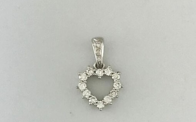 Heart pendant in white gold 750°/°°°serti with diamonds, Gross weight: 1,27g