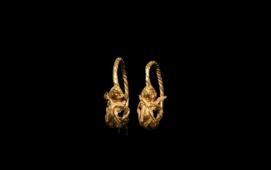 Hellenistic Gold Earring Pair with Eros