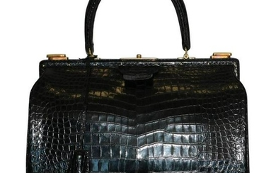 Hermes Shiny Black Crocodile Sac Mallet Bag with Gold