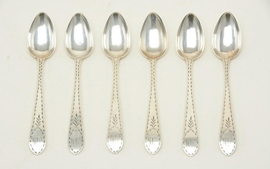 J. Shoemaker colonial American coin silver teaspoons