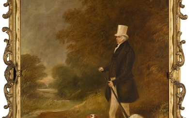 JOHN FERNELEY SNR. | PORTRAIT OF SIR WILLIAM MORDAUNT STURT MILNER, 4TH BT. (1779-1855) WITH TWO CLUMBER SPANIELS OUT SHOOTING
