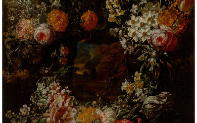 Jacob Melchior van Herck (active 1691-1735), A still life with a floral cartouche surrounding a landscape