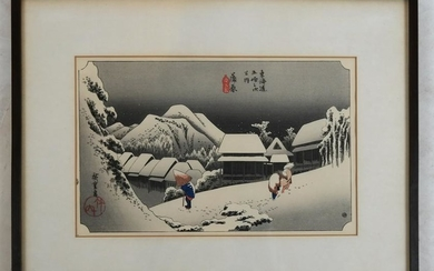 Japanese Print: Figures in a Snowy Village