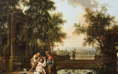 Johann Konrad SEEKATZ (Grünstadt 1719 - Darmstadt 1768) Suzanne and the old men Oak panel, one plank, unparquetted In a rich wooden frame and gilded stucco 37 x 50 cm (old restorations)
