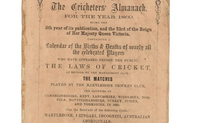John Wisden (1826-1884), The Cricketers' Almanack for the Year 1869.