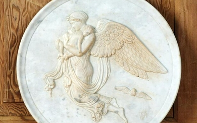 LARGE CARVED MARBLE PLAQUE WITH ANGEL AND PUTTIS