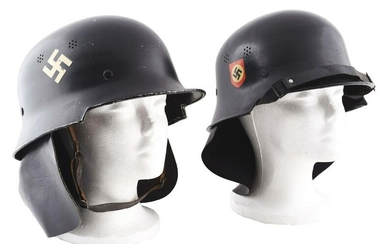 LOT OF 2: THIRD REICH M34 FIRE POLICE HELMETS WITH NECK