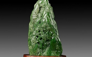Large Chinese Natural Green Hetian Jade Decoration