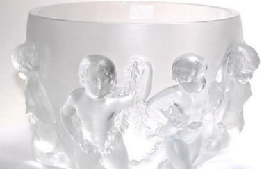 Large Lalique Crystal Luxemberg Cherub Bowl