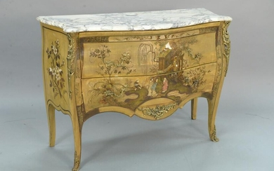 Louis XV style marble top commode having chinoiserie