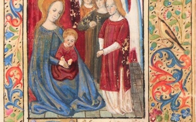 [Medieval manuscripts. Miniatures]. (Mary holding the Christ child,...