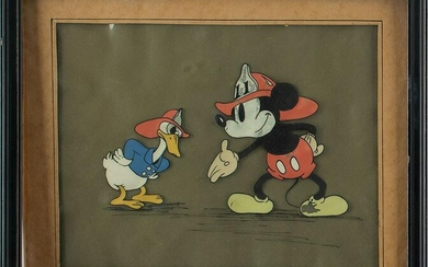 Mickey Mouse and Donald Duck publicity cel from
