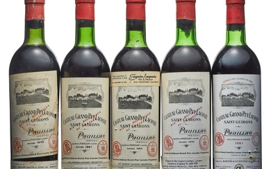 Mixed Château Grand-Puy-Lacoste, Château Grand-Puy-Lacoste 1945 Slightly damaged capsule, bin-soiled and slightly damaged label Level top shoulder (1) 1961 Slightly bin-soiled labels Levels top shoulder (2) 1964 Slightly bin-soiled and nicked label...