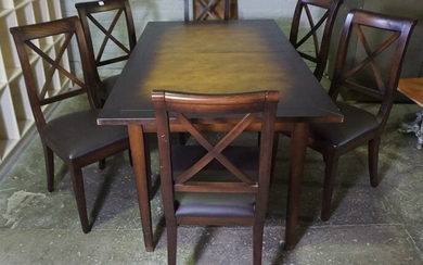Modern Dining Table with Six Chairs, 76cm high, 176cm long, 95cm wide