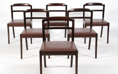 Ole Wanscher, A.J. Iversen, six chairs/dining chairs, mahogany/leather, Denmark, the 1960s (6)