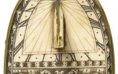 Oval quadripod sundial in carved ivory decorated with...
