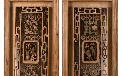 """PAIR OF CHINESE CARVED WOOD PANELS Openwork-carved figural, floral and Greek fret design. Heights 36"""". Widths 12"""". Depths 2""""."""