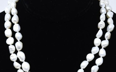 Pair of 12 mm Baroque Pearl Necklaces