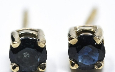 Pair of 14kt Yellow Gold & Sapphire Earring Studs