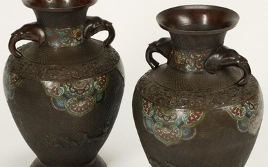 Pair of 19th Century Chinese Champleve Bronze Vases.