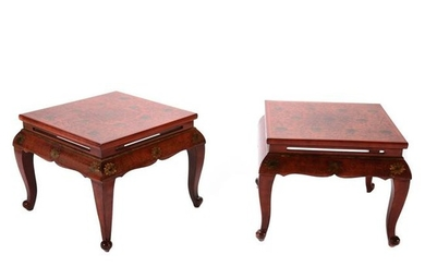 Pair of Chinese Gilt Decorated Red Lacquer Square