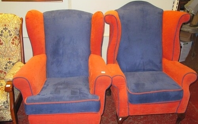 """Pair of """"His 'n Hers"""" Wing Back Armchairs."""