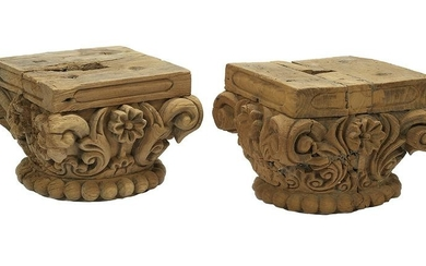 Pair of Indian Carved Wooden Temple Capitals