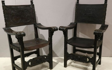 Pair of Medieval Gothic Revival Chairs