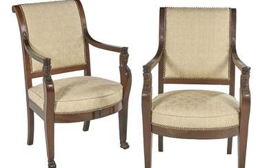 Pair of Restauration Carved Mahogany Fauteuils