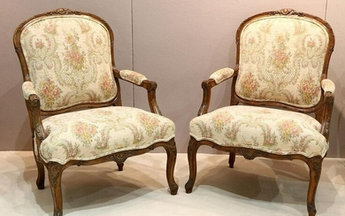 Pair of Upholstered Floral Design Chairs