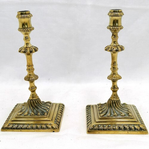 """Pair of early victorian cast table candlesticks - height 6"""" ..."""