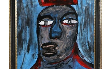 Pulgini, Mid-Century Modern Abstract Blue Man Oil/b