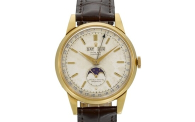 ROLEX   PADELLONE, REF 8171, YELLOW GOLD WRISTWATCH WITH DAY, DATE, MONTH AND MOONPHASE, CIRCA 1952