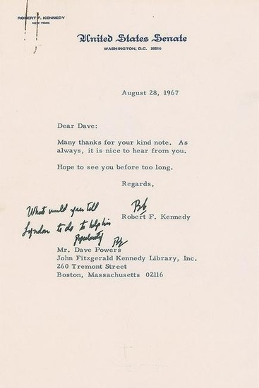 Robert F. Kennedy Typed Letter Signed to Dave Powers