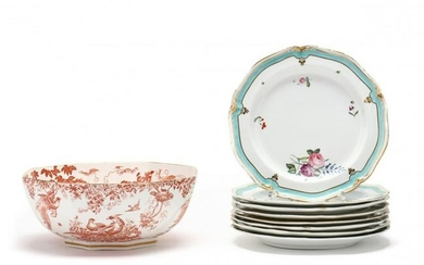 Royal Crown Derby Center Bowl and Eight Plates