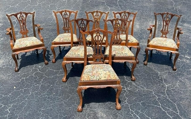 SET OF 8 CONTEMPORARY CHIPPENDALE STYLE CHAIRS