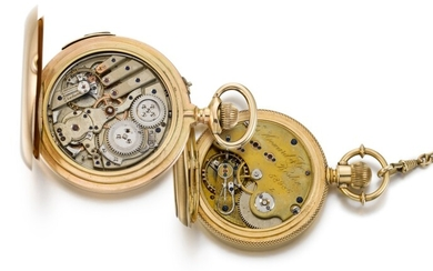 SWISS | A GOLD HUNTING CASED QUARTER REPEATING WATCH TOGETHER WITH A GOLD HUNTING CASED WATCH CIRCA 1890 AND 1869