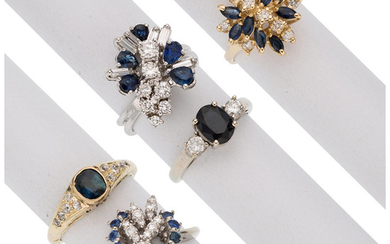 Sapphire, Diamond, Gold Rings The lot consists of a...