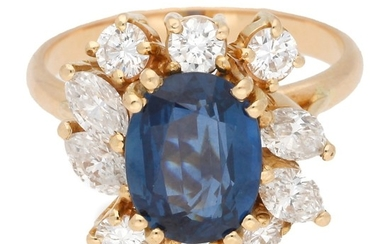 Sapphire and diamonds rosette ring, circa 1970.