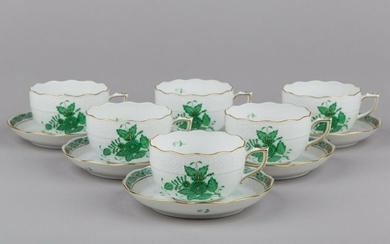 Set of Six Herend Chinese Bouquet Green Tea Cups with