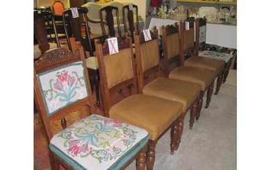 Set of Six Late Victorian Walnut Dining Chairs.