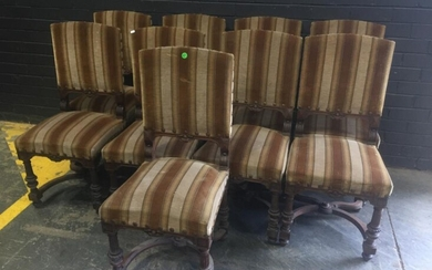 Set of Ten (10) Henry II Style Walnut Dining Chairs, the backs & seats upholstered in striped brown fabric, raised on turned reeded...