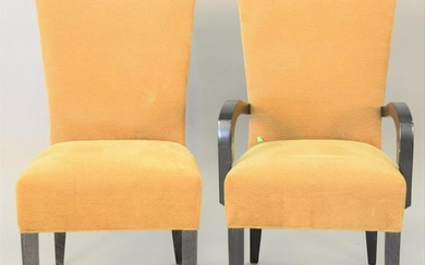 Set of eight contemporary upholstered dining chairs