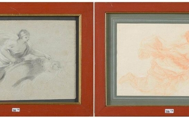 """Set of two drawings: """"Ceiling study, woman with a draped ceiling in an entourage of angels"""", graphite and white chalk on paper. A """"Woman with a drape"""", blood on laid paper is attached. Anonymous. Italian school. Period: 17th and 18th century. (Folds)..."""