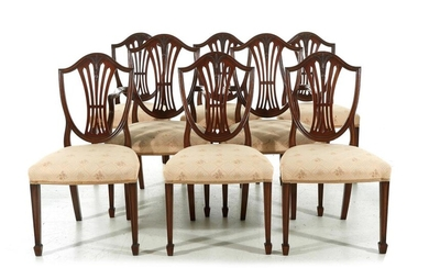 Sheraton style mahogany shield-back dining chairs (8pcs)